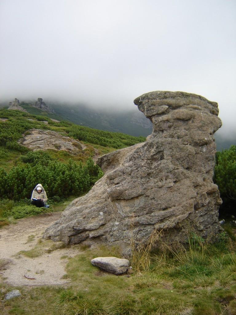 Лида на фоне камня пишет