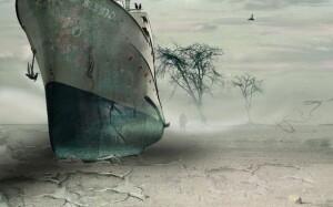 корабль на суше